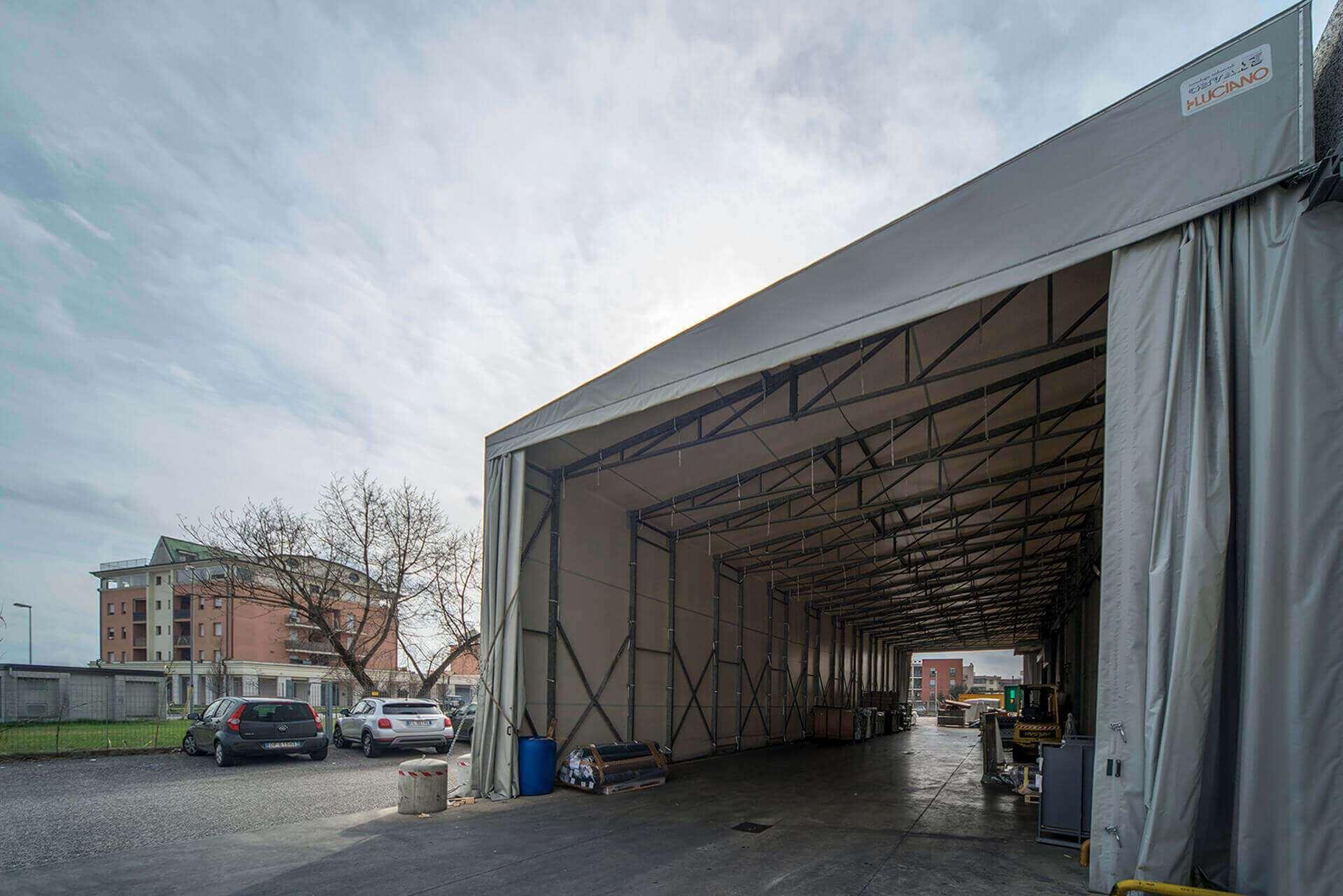 coperture mobili luciano, capannoni luciano, tunnel pvc, coperture pvc, tunnel laterali, tunnel monopendenza