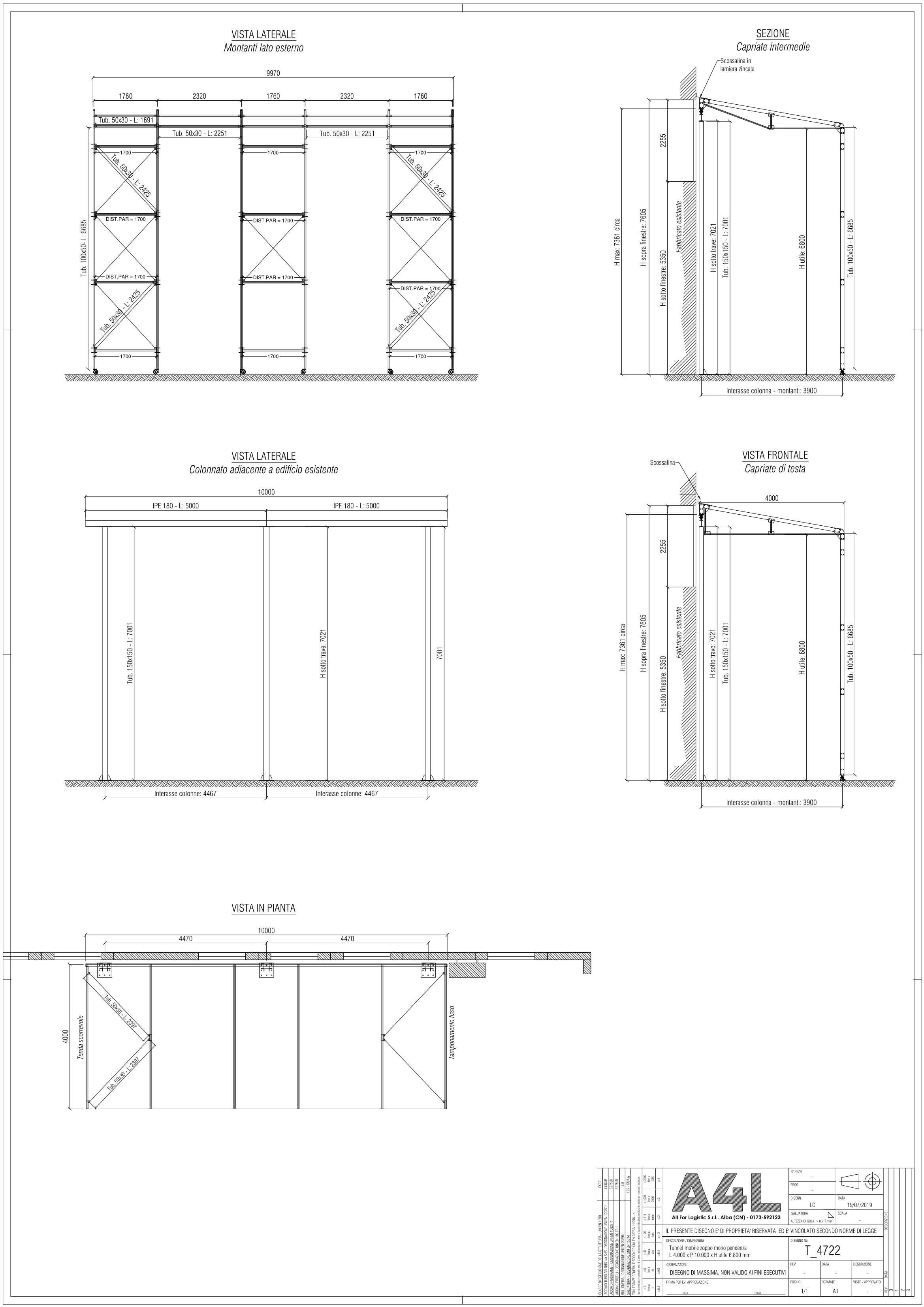 Progettazione tunnel mobili in pvc